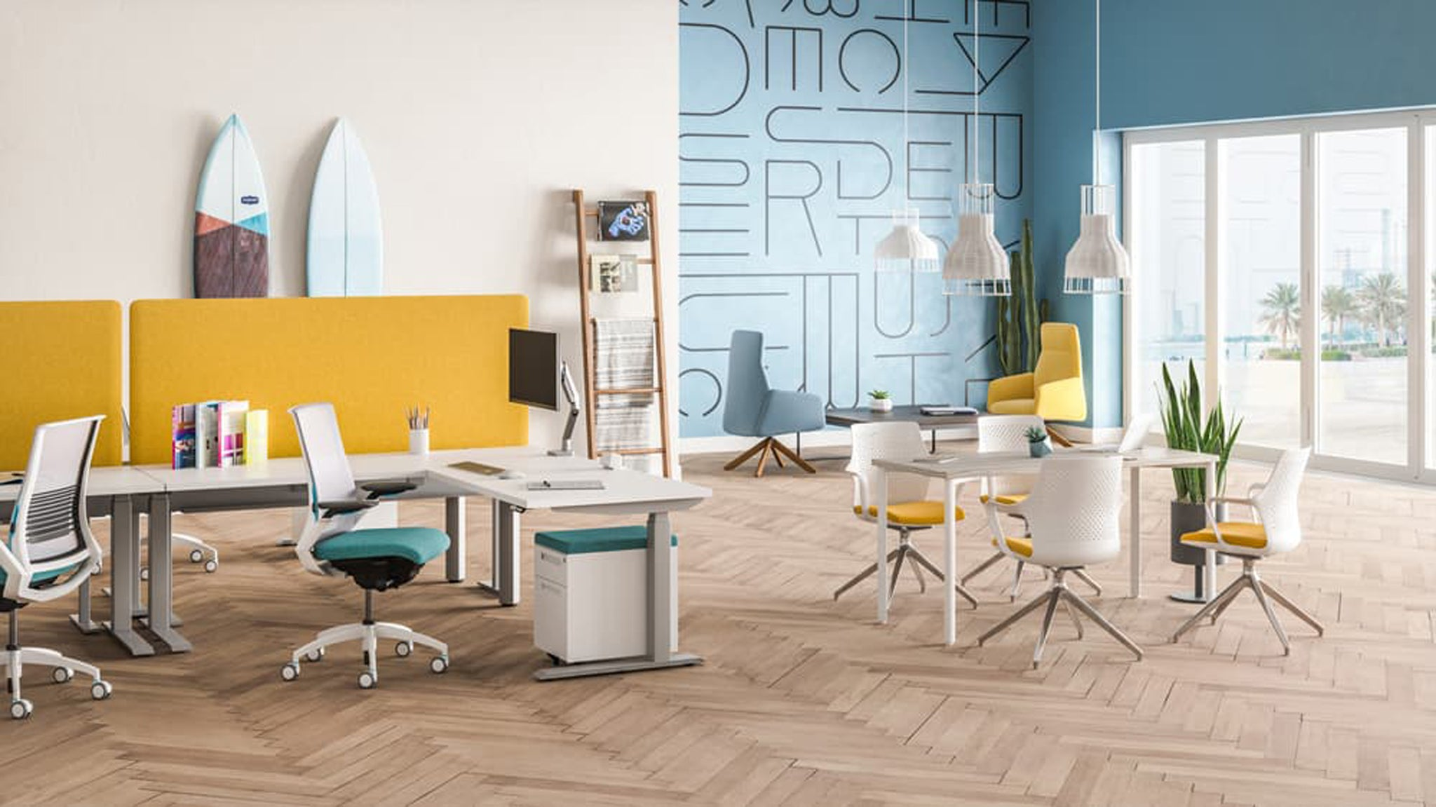 Products pictured: Switchback Height Adjustable Desk, Amplify, Ionic and Envoi Seating