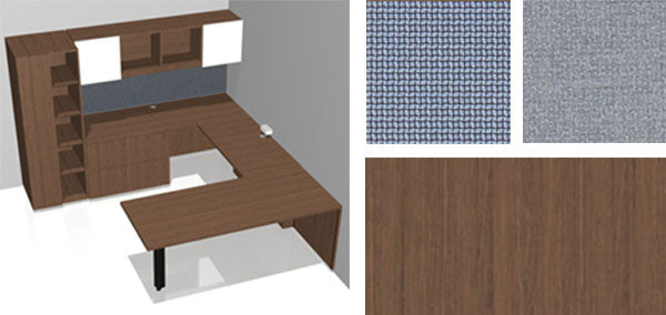 Furniture Rending of a Custom Aptos Desk in Root Wood Veneer, Chosen for Private Office