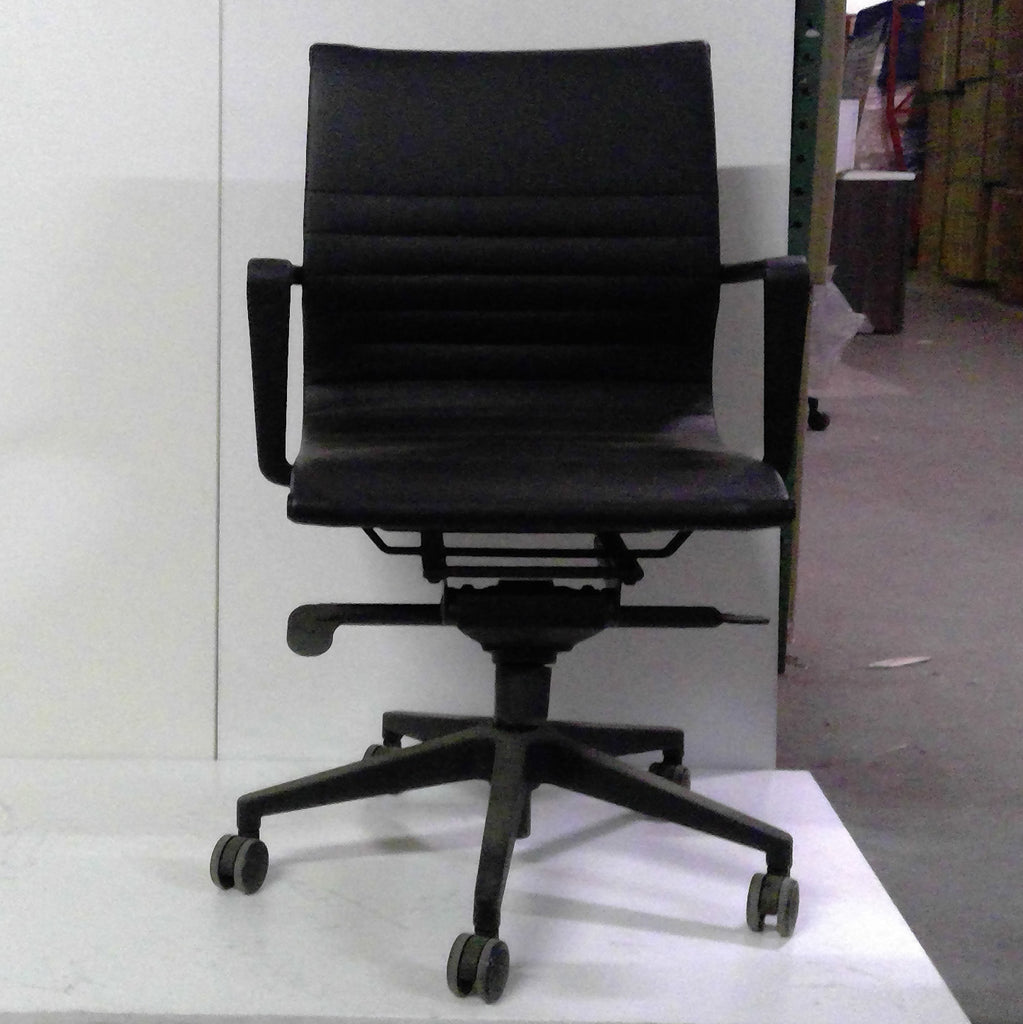 Sale Wobi Bradley Lowback Chair (Black Vinyl) #1508 - Office Furniture Heaven
