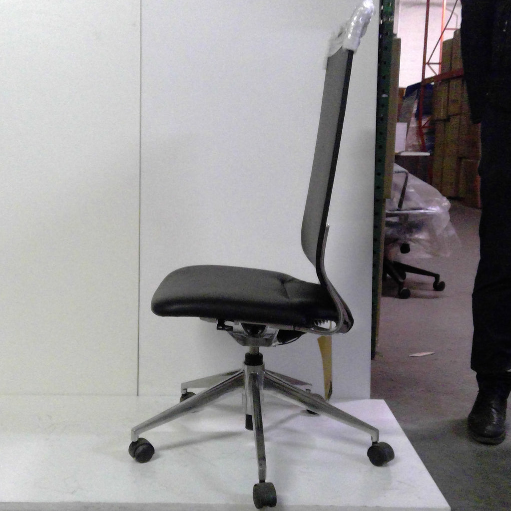 Sale Marco Highback Chair without Arms (Black Leather) #1510 - Office Furniture Heaven