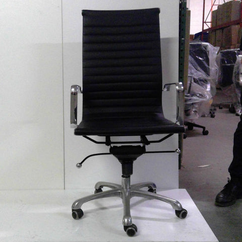 Sale Wobi Reed Highback Chair (Black Leather) #1514 - Office Furniture Heaven