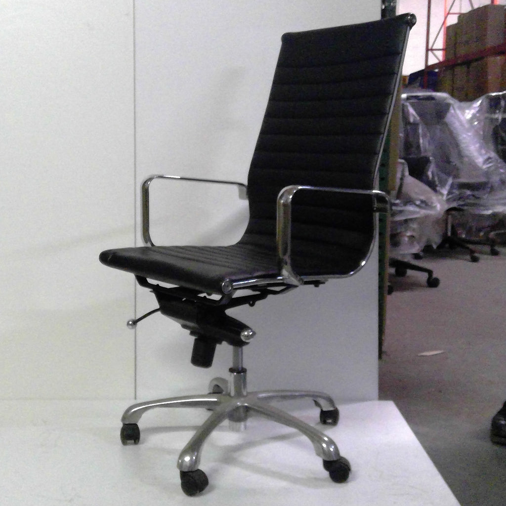 Sale Wobi Reed Highback Chair (Black Leather) #1515 - Office Furniture Heaven