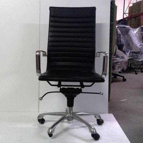 Sale Wobi Reed Highback Chair (Black Leather) #1516 - Office Furniture Heaven