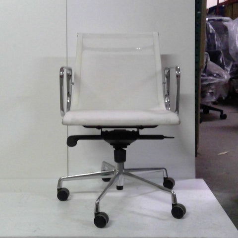 Sale Wobi Reed Lowback Chair (White Mesh) #1522 - Office Furniture Heaven
