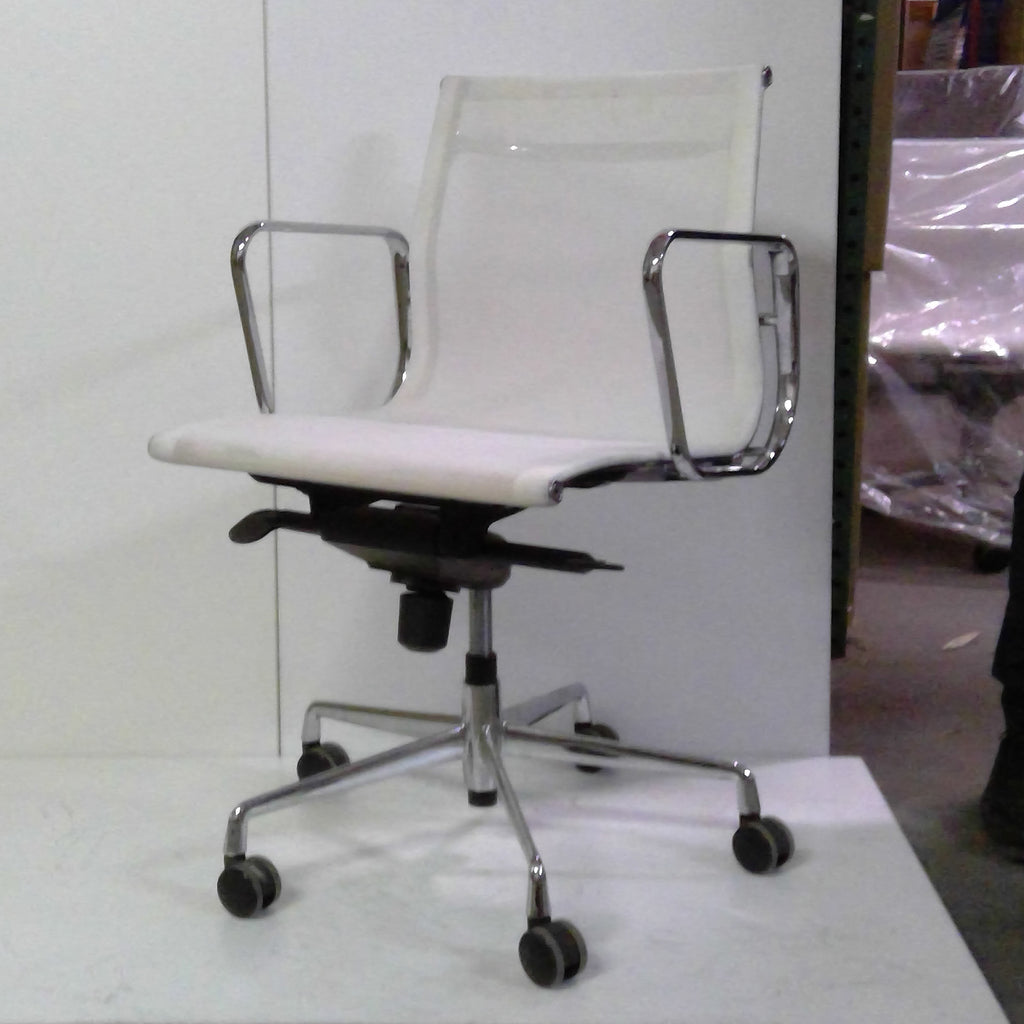 Sale Wobi Reed Lowback Chair (White Mesh) #1530 - Office Furniture Heaven