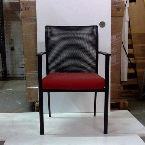 Sale Fluid Visitor's Chair Black Mesh with Red Seat #2011 - Office Furniture Heaven