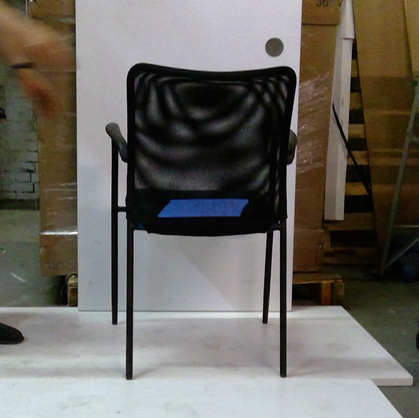 Sale Fluid Visitor's Chair Black Mesh with Blue Seat #2013 - Office Furniture Heaven