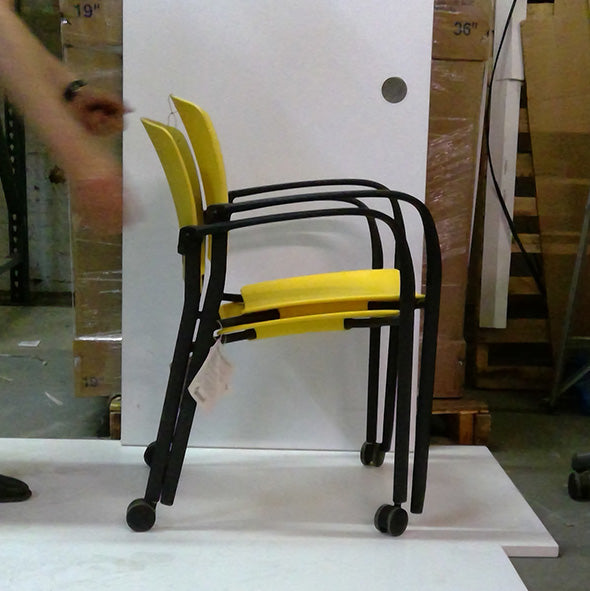 Sale Yellow Stack Chair with Casters (QTY 1) #2024 - Office Furniture Heaven