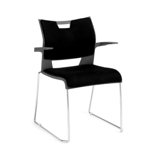 Sale Duet Stack Chairs Grey Plastic Shell Black Fabric Seat and Back with Arms #2031 - Office Furniture Heaven