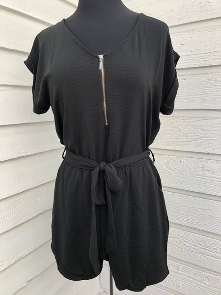 Black Tie~Front pocket Romper