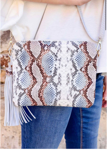 Carol Clutch Crossbody Snake Sunset