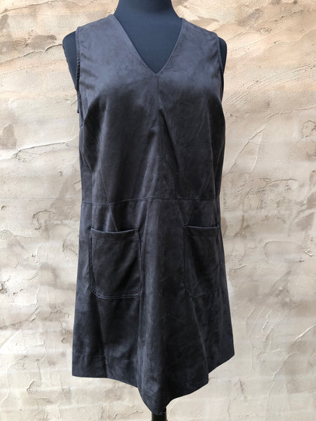 Black Suede Dress with Pockets