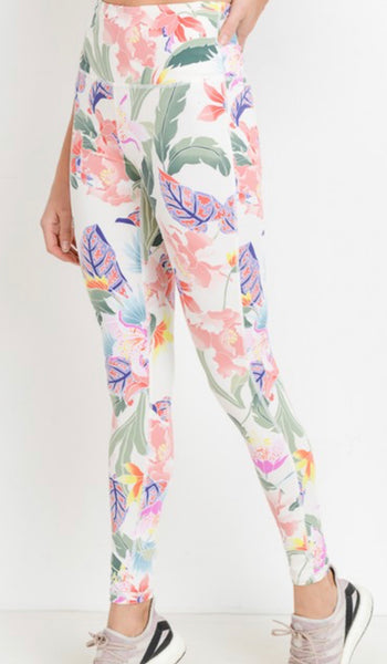 Ivory Floral Leggings