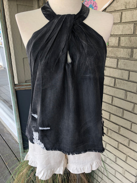 Black Distressed Denim Tank