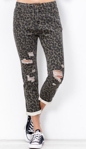 Leopard Distressed Jean