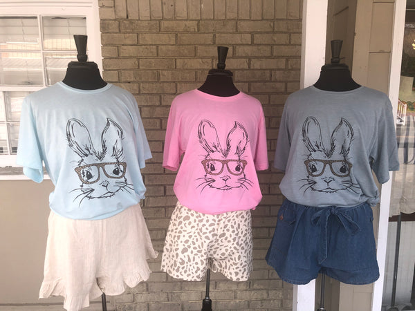 Bunny Tee with Leopard Glasses
