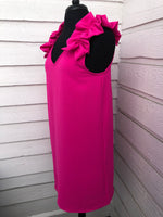 Hot Pink Ruffle Sleeve Dress
