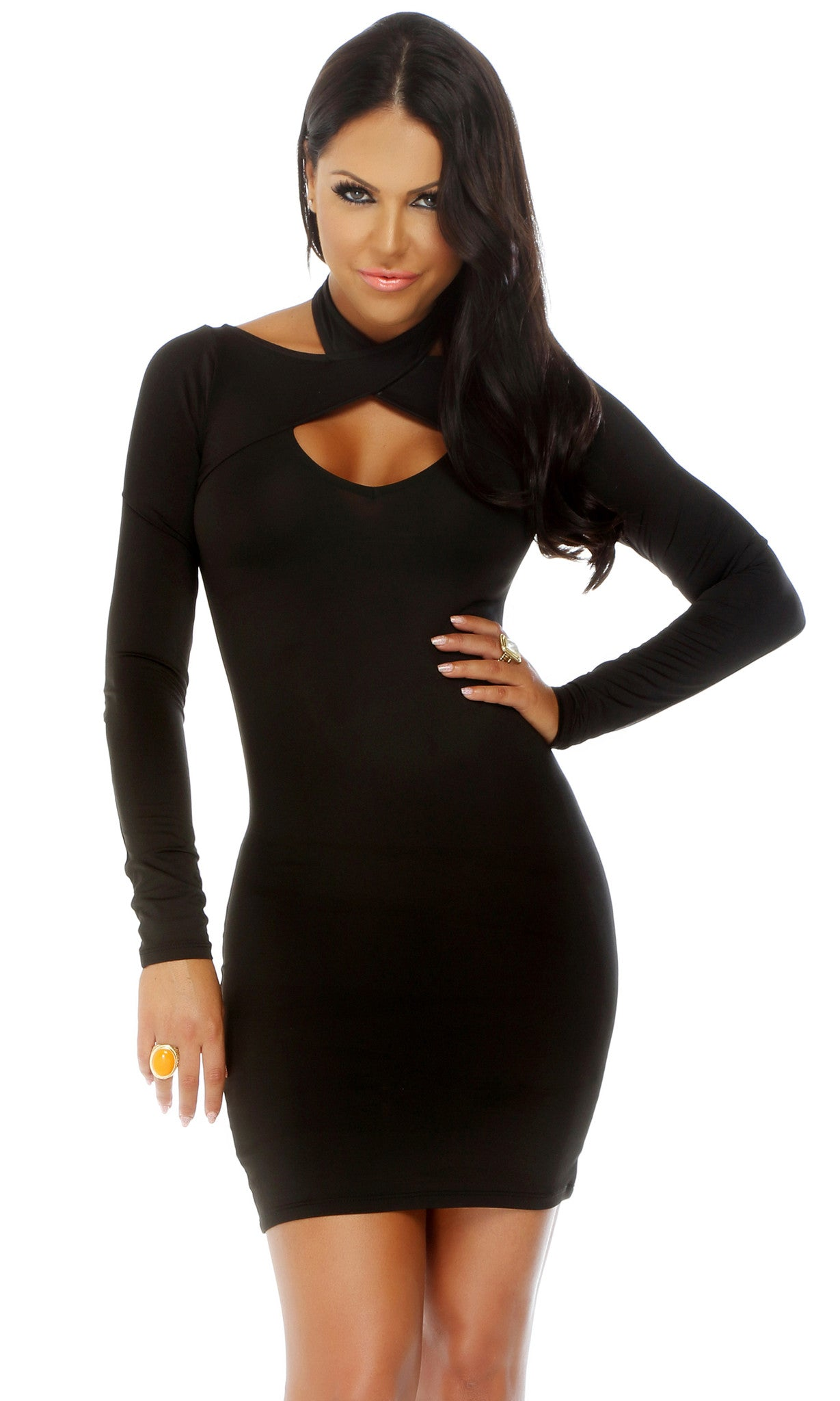 Open Heart Long Sleeve Dress