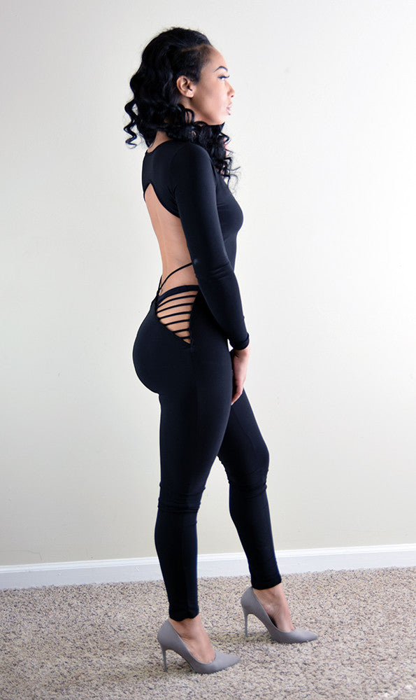 Black Widow Open Back Catsuit