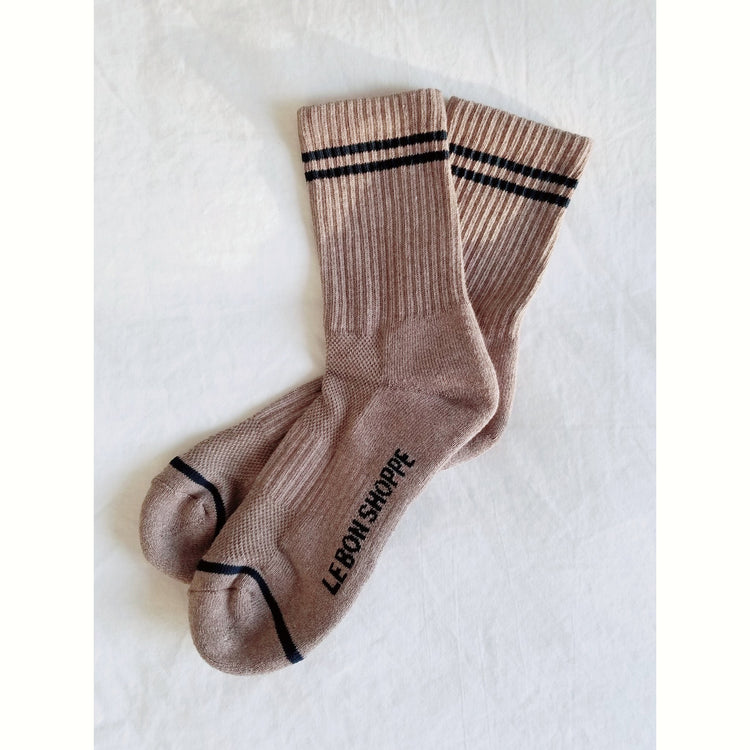 Boyfriend Socks In Cocoa By Le Bon Shoppe