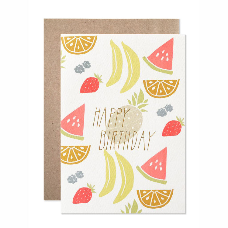 Happy Birthday Neon Fruit With Gold Foil