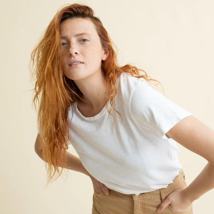 Lorel Tee Shirt in Washed White By Jungmaven