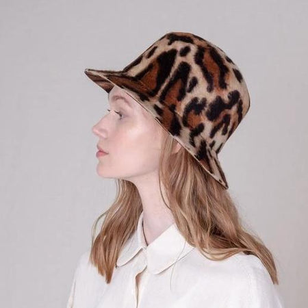 Brown Cow Bucket Hat in Shag Felt By BROOKES BOSWELL