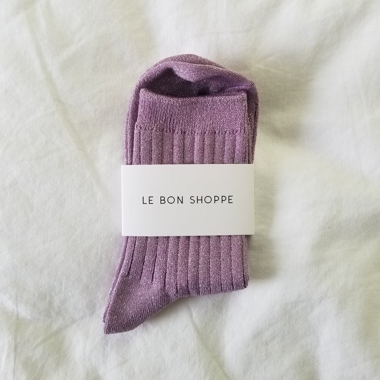 Le Bon Shoppe Her Socks in Lilac Glitter