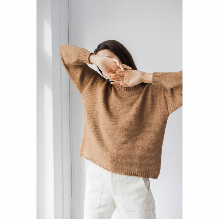 Classic Crew Sweater in Tobacco By Bare Knitwear