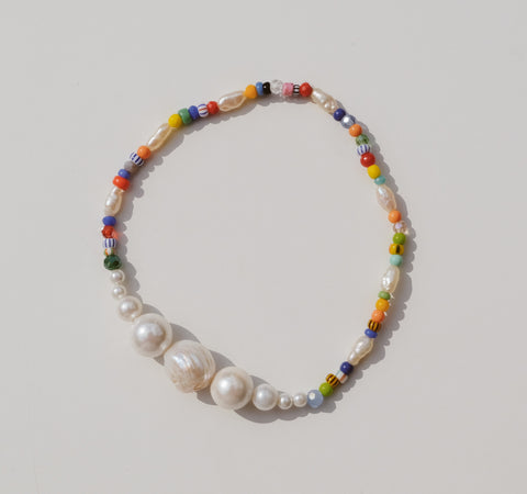 Simple Pearls 2 Colour Anklet By Luiny