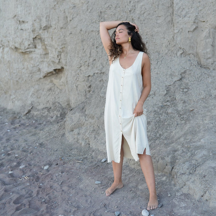 Reversible Silk Dress In Natural By LACAUSA