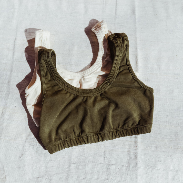 Organic Cotton Double Band Bra in Army By Back Beat