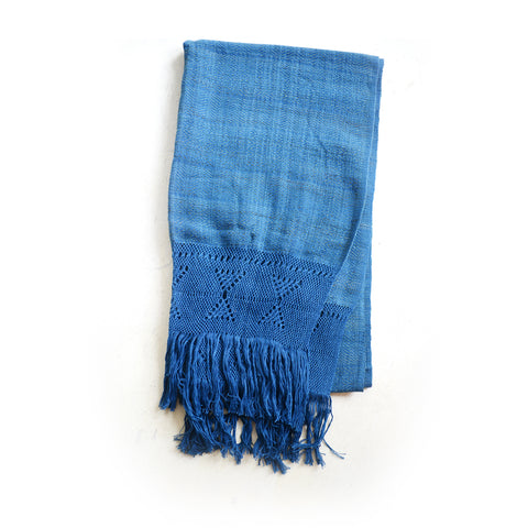 Naturally Dyed Organic Cotton Scarf With Indigo