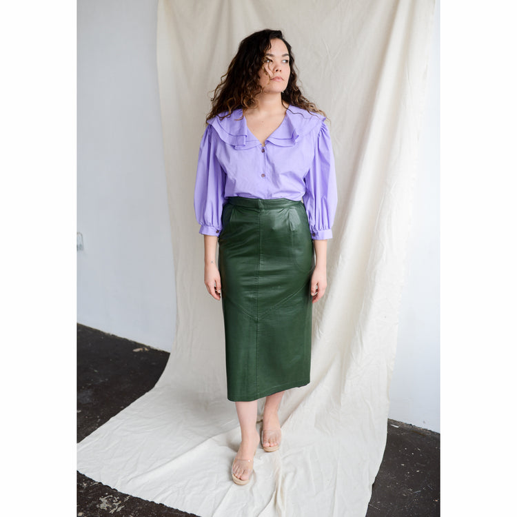 Vintage High Waisted Green Leather Skirt