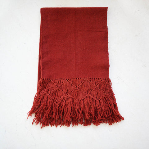 Naturally Dyed Wool Scarf in Cochineal