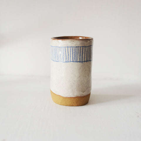 Blue Lines Tumbler By Samantha Ceramics