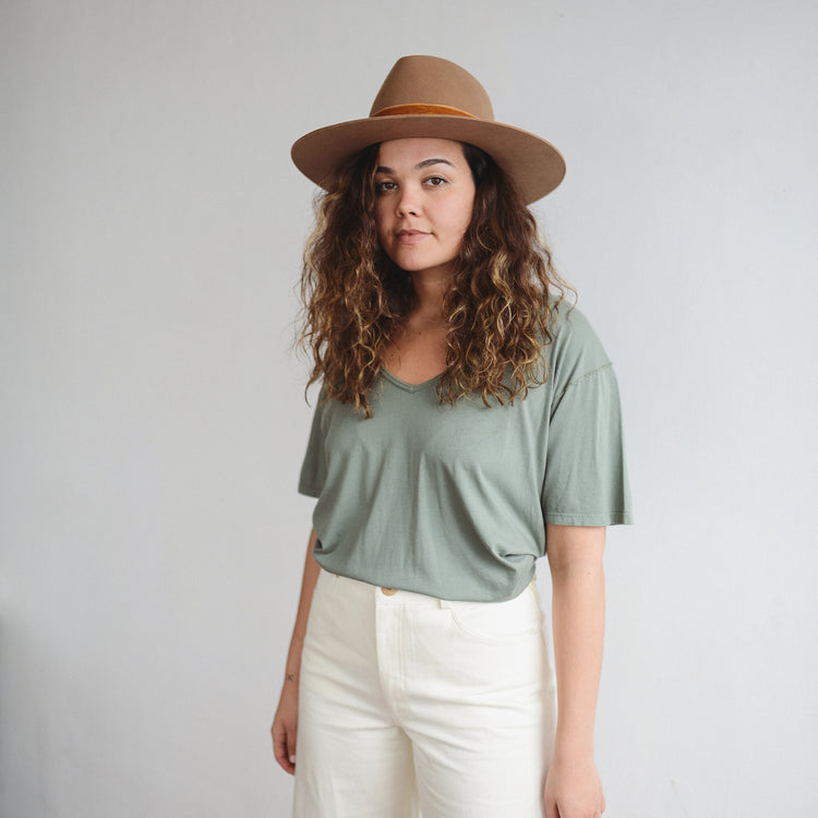 Hemp V-Neck Tee in Sage By Back Beat