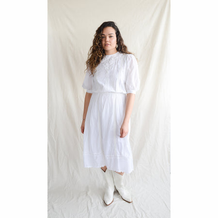 Vintage 80s Lace White Dress