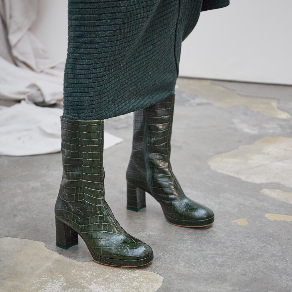 64eb4f7c30536 Carlota Dark Green Croc Leather By Miista – The Wanderly