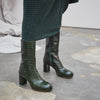 Carlota Dark Green Croc Leather  By Miista