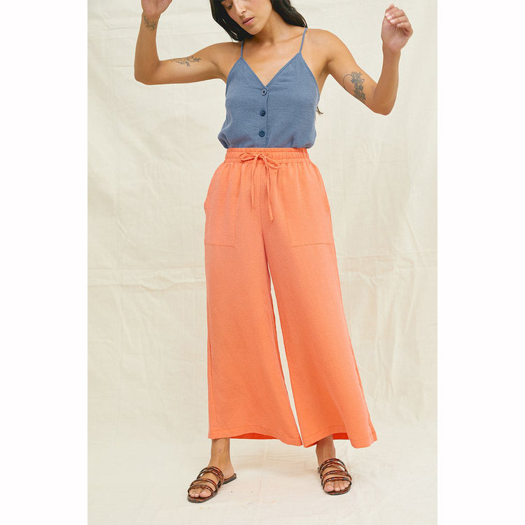 Tencel Seersucker Pants In Tangerine By  By Back Beat