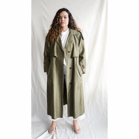 Vintage Green Trench Coat