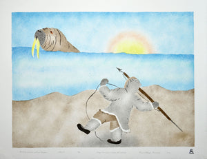 Hunting Walrus with a Harpoon by May Lonsdale inuit art
