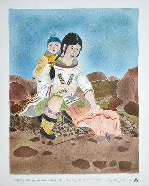 Majjaturq (Cleaning a Sealskin) by David Poisey inuit art
