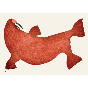 Red Walrus, Tim Pitsiulak, Cape Dorset, Inuit art, Art inuit, Eskimo art, gravures inuit, inuit print, eskimo print, 2016, print, collection
