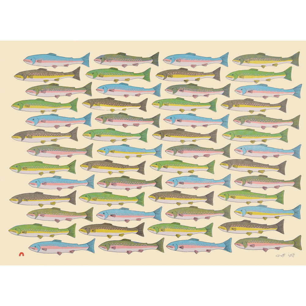Counting Char, Pauojoungie Saggiak, Cape Dorset, Inuit art, Art inuit, Eskimo art, gravures inuit, inuit print, eskimo print, 2016, print, collection