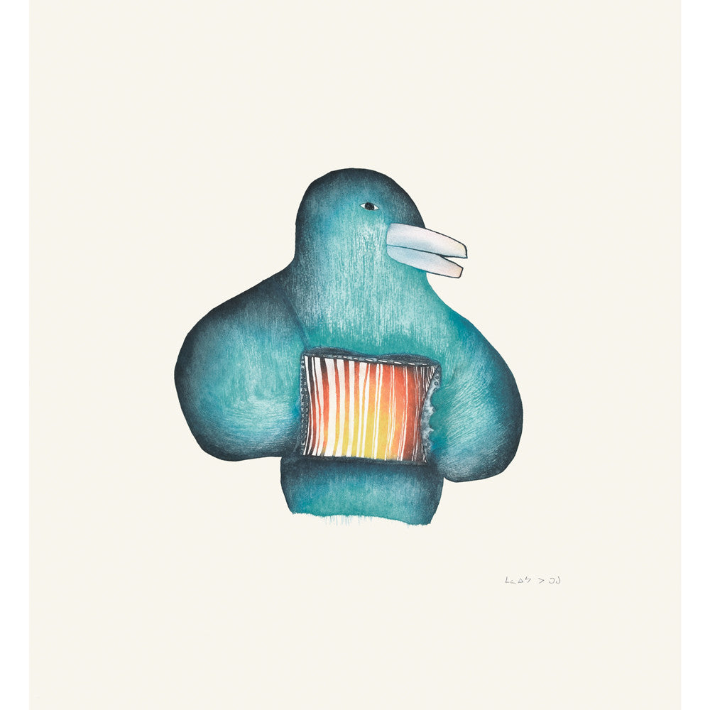 Accordion Player, Malaija Pootoogook, Cape Dorset, Inuit art, Art inuit, Eskimo art, gravures inuit, inuit print, eskimo print, 2016, print, collection