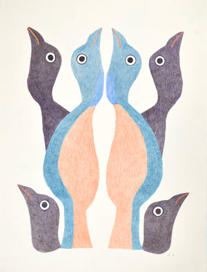 Birds looking up, drawing by Meelia Kelly