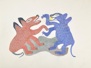 Arctic foxes, drawing by Meelia Kelly