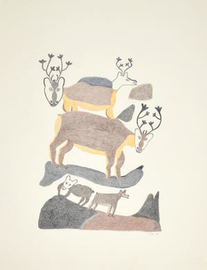 Caribous, drawing by Meelia Kelly